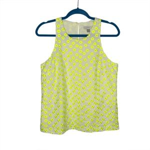 J Crew Neon Yellow Floral Embroidered Tank Top
